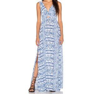 Surf Gypsy Tribal Print Cutout Maxi Dress